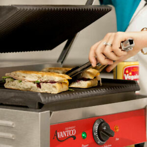 Avantco P78 Grooved Commercial Counter Panini Sandwich Press Grill 120v 1750w