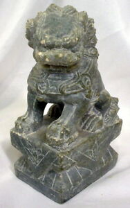 Vintage Chinese Fu Foo Dog Guardian Lion Hand Carved Soap Stone Bookend