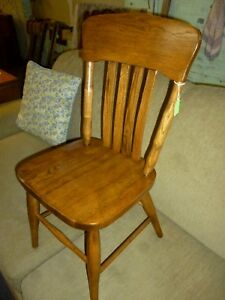 Antique Oak Chair Childs School Library Church Refinished 1900 S 2