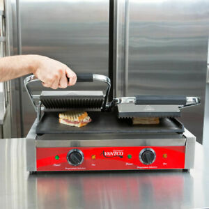 New Avantco P88sg Double Grooved Commercial Counter Panini Press Sandwich Grill