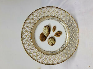 Antique French Old Paris Sevres Style Nut Decorated Reticulated Plate As Is
