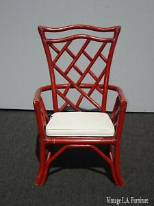 Vintage Red Bamboo Chinese Chippendale Design Accent Arm Chair W White Cushion