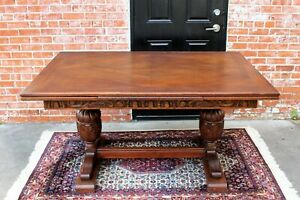 French Antique Oak Wood Draw Leaf Renaissance Table Dining Room Furniture