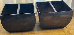 Antique Chinese Wood Rice Grain Measure Buckets With Handles Sold As Set