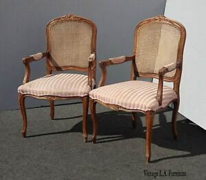 Pair Of French Country Cane Rose Accent Chairs Chaircraft Hickory Nc