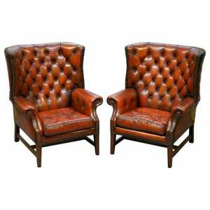 Pair Of Restored Chesterfield Porters Wingback Armchairs Whisky Brown Leather