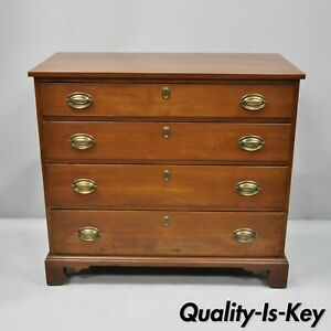 19th C Antique Mahogany Federal Dresser Commode Bachelor Chest Of Drawers
