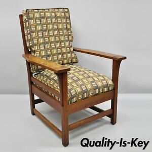 L Jg Stickley Mission Oak Arts Crafts Lounge Arm Chair Spring Seat Cushion