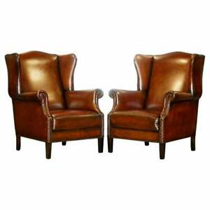Comfortable Pair Of Nice Vintage Restored Wingback Armchairs Cigar Brown Leather