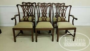 Set Of Six Henkel Harris Chairs Mahogany 107 Chippendale