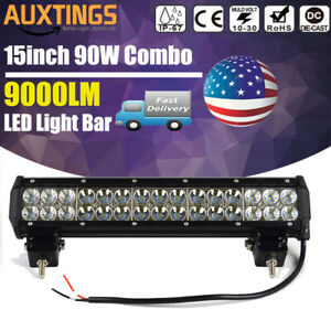 90w 15inch Led Work Light Bar Combo Beam Off Road Driving Truck Suv 4wd Us