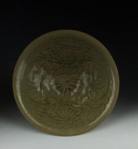 Chinese Antique Yaozhou Ware Porcelain Bowl With Flower Pattern