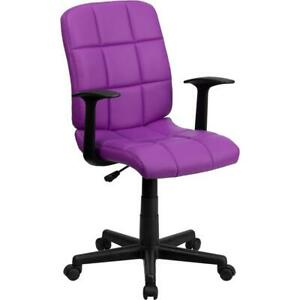 Mid back Purple Quilted Vinyl Swivel Task Office Chair With Arms