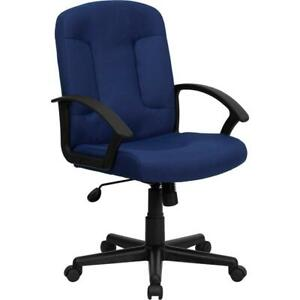 Mid back Navy Fabric Executive Swivel Office Chair With Nylon Arms