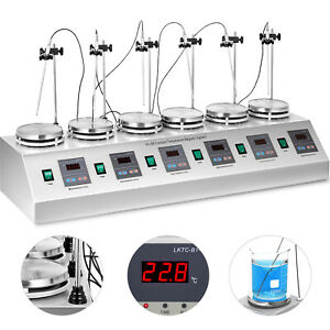 6 Heads Magnetic Stirrer Heating Plate Digital Hotplate Mixer Stir Bar Rt 100