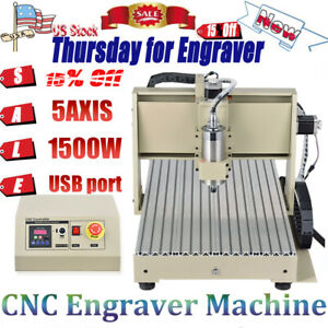 5axis Engraver 6040 Router Engraving Carving Cnc 3d Milling Cutter Machine 1500w