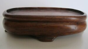 Antique Chinese Wood Statue Figurine Vase Fitted Oval Stand 5 Wide