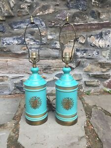 Pair Of Antique French Opaline Blue Color Lamps