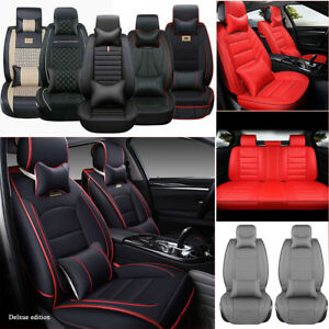 Full Set 5 seats Car Seat Covers Protector Cushion Pad Luxury Durable Pu Leather