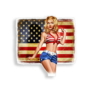 Sexy Pinup Girl Sticker Rustic American Usa Flag Car Vehicle Window Bumper Decal