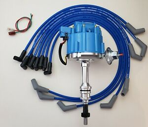 Ford Small Block 351w Windsor Blue Hei Distributor 8 5mm Spark Plug Wires Usa