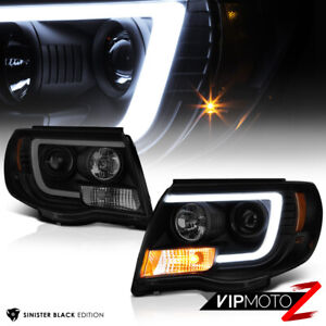 For 05 11 Toyota Tacoma Black Housing Smoke Lens Led Tube Projector Headlight
