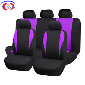 9 Pcs Front Rear Universal Car Seat Covers Purple Polyester Sponge Washable