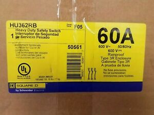 New Square D Hu362rb 60a 600v 3ph Non Fusible Heavy Duty Safety Switch