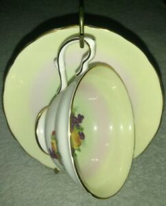 Grosvenor Bone China Tea Cup And Saucer England Fruit Pattern Vintage