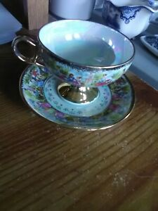 Royal Sealy China Japan Cup And Saucer Victorian Ladies With Suitors Gold Trim