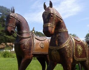 2 Antique Wood And Copper Horse Figurines