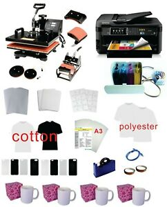 5in1 15x15 Pro Sublimation Heat Press Epson 7710 11 x17 Printer Ciss Kit