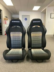 Pair 2 Bride Digo Black Gradation Cloth Racing Seats Honda Subaru Bmw Toyota
