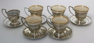 Sterling Silver Demitasse Cups Saucers By Manchester