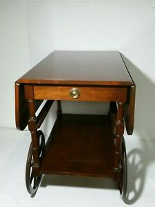 Vintage Baker Furniture Rolling Drop Leaf Bar Tea Cart Trolley Mahogany Wood