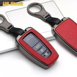 1xgun Red Leatherette Metal Key Fob Chain Case Cover Fit For Toyota Camry Avalon