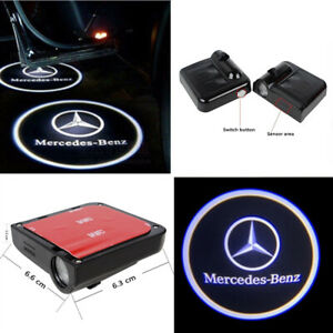 2pcs Car Led Door Projector Logo Ghost Shadow Wireless Light For Mercedes Benz