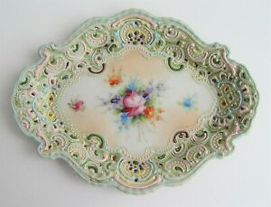 Japanese Moriage Tray Dish Plate Hand Painted Porcelain Floral Cameo Flower
