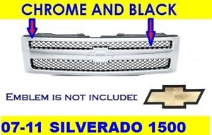 Grille For Chevrolet Silverado 1500 2007 2013 Chrome Black 25810707 Gm1200572