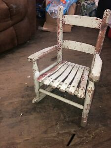 Antique Wood Childs Chair Primitive 21 Tall Fabulous Chippy White Red Paint