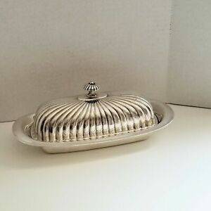 Christofle France Silver Plate 1 4 Pound Covered Butter Dish Glass Liner 8 3 8