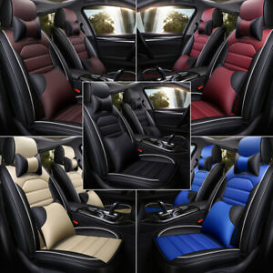 Waterproof Leather Universal Fit Car Seat Cover 5 Seat Full Set Easy To Install