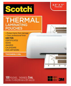 Scotch Thermal Laminating Pouch 8 9 10 X 11 2 5 Inches 5 Mil Thick Pack Of