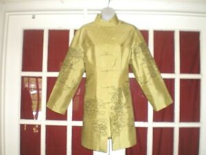 Vtg Chinese Green Textured Silk Jacket Robe Embroidered Black Flowers Sz 40