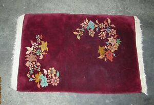 Vintage Antique Chinese Nichols Plush Red Wool Floral Prayer Rug Nice 38x24