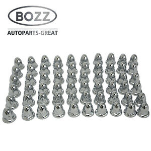 60 Chrome Lug Nut Covers With Flanges For 33mm Lugs Trucks Trailers
