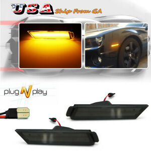 Smoked Lens Amber Led Front Side Marker Lights Fits 10 15 Chevrolet Chevy Camaro