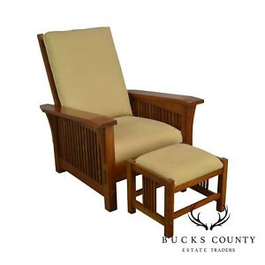 Stickley Mission Collection Cherry Bustle Back Spindle Morris Chair W Ottoman