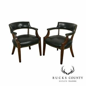 Sligh Green Leather Chippendale Style Pair Office Armchairs B