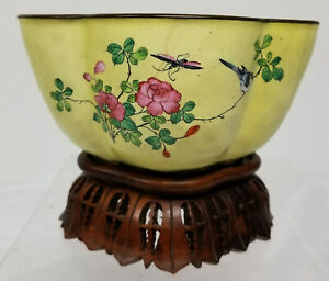 Antique Chinese Canton Peking Enameled Floral Bowl On Stand As Is